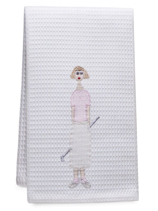 Guest Towel, Waffle Weave, Golf Lady (Pink) - DG03-GLPK**
