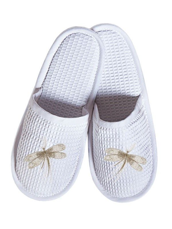 DG05-CDBE Slippers, Waffle Weave - Classic Dragonfly (Beige)