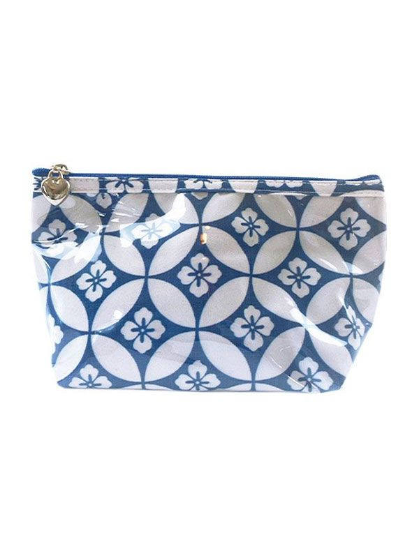 Cosmetic Bag (Small), Floral Tile (Blue) - DN300-FTBL