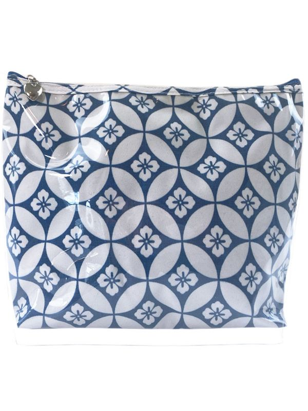 Cosmetic Bag (Large), Floral Tile (Blue) - DN302-FTBL