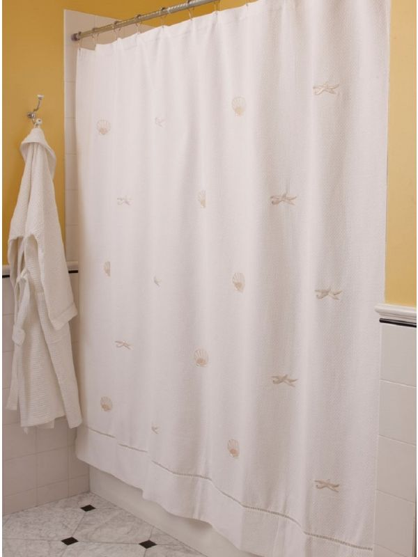 LG75-SCBE-SFBE** Shower Curtain, Pure Cotton Diamond Pique - Scallops & Starfish (Beige)