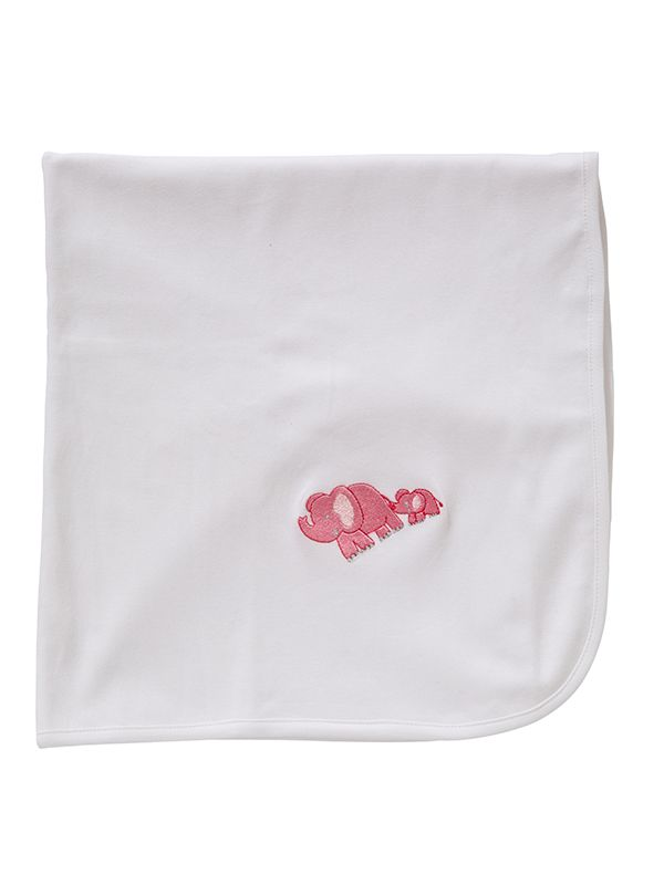 LG89-EBPK** Baby Blanket, White Combed Cotton - Elephant & Baby (Pink)
