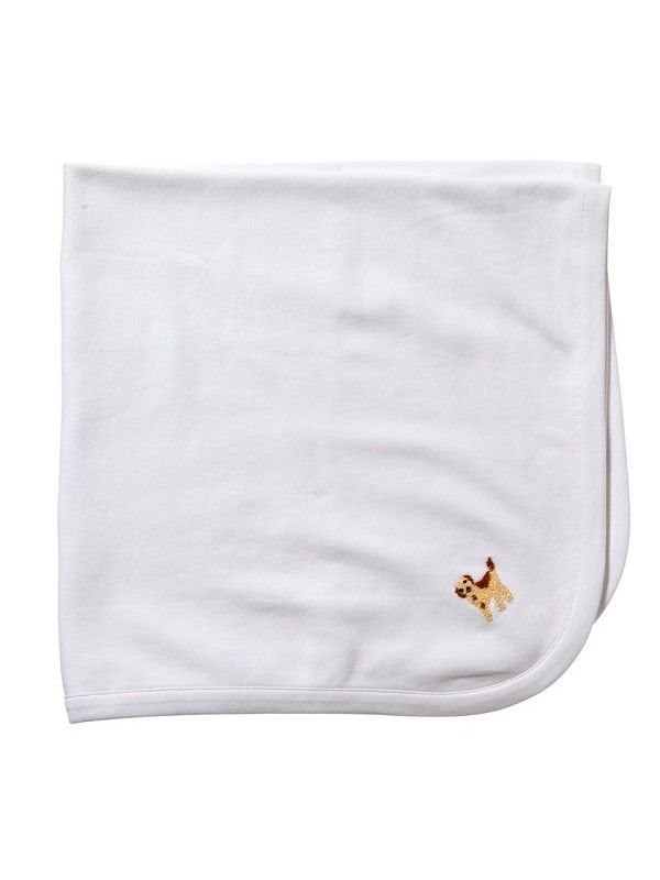 LG89-PPBE** Baby Blanket, White Combed Cotton - Puppy (Beige)