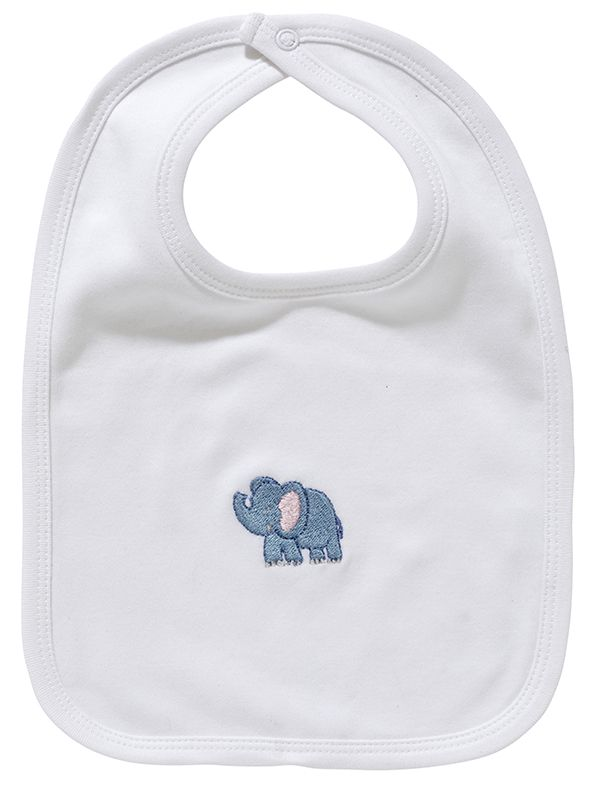 LG90-EB Baby Bib** - White Combed Cotton, Embroidered - Elephant (Blue)