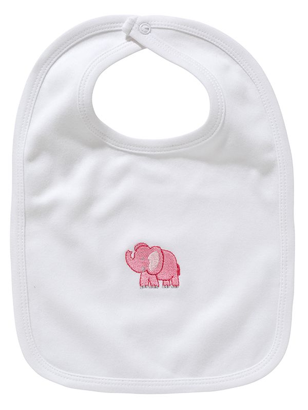 LG90-EP Baby Bib** - White Combed Cotton, Embroidered - Pink Elephant