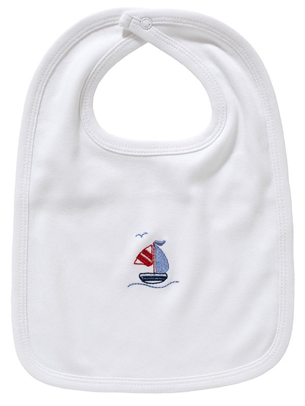 LG90-SASB Baby Bib** - White Combed Cotton, Embroidered - Sailboat & Seagull (Blue)