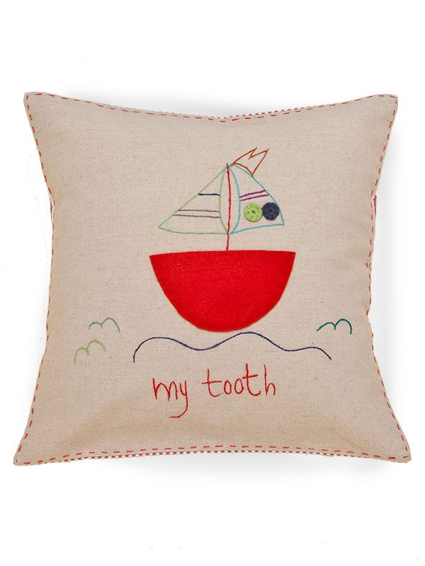 "LL651-T** Tooth Fairy Pillow 16"" x 16"", Natural Linen - ""my tooth"" (Applique & Crochet)"