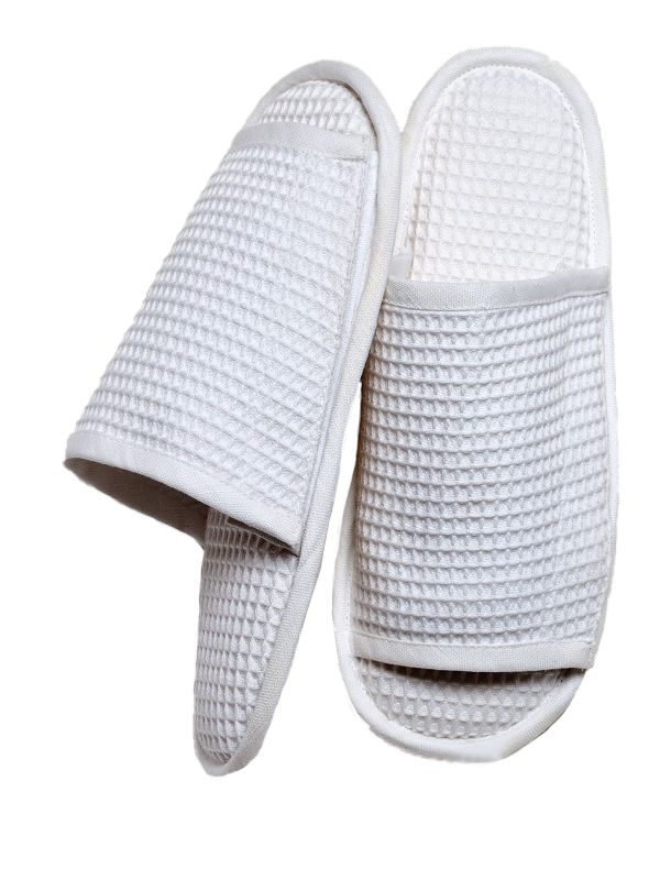 Slippers (Open Toe), White Cotton Waffle Weave - LG61
