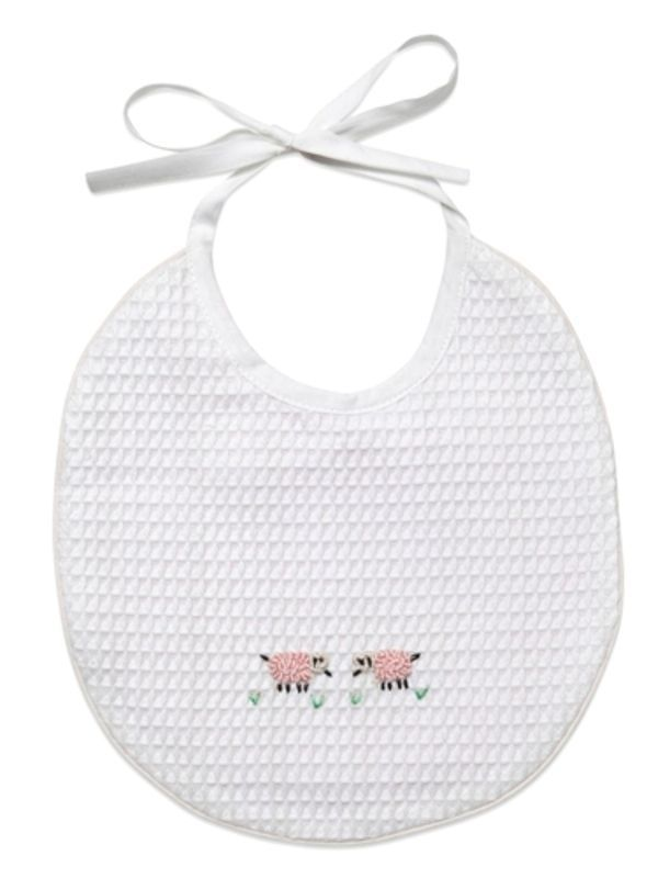 Baby Bib** - White Waffle Weave, Gingham Lining, Hand Embroidered