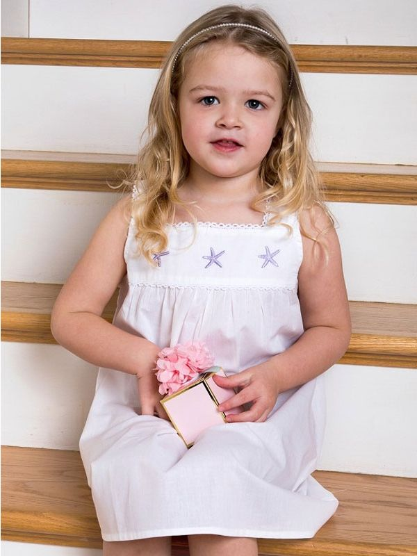 Starfish (Girls) White Cotton Dress, Embroidered** - EL327