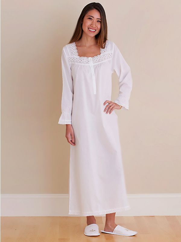 Susan White Cotton Nightgown** - EL316
