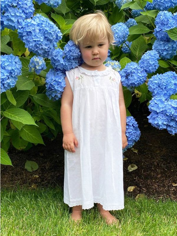 Sweet Pea White Cotton Dress, Embroidered** - EL285