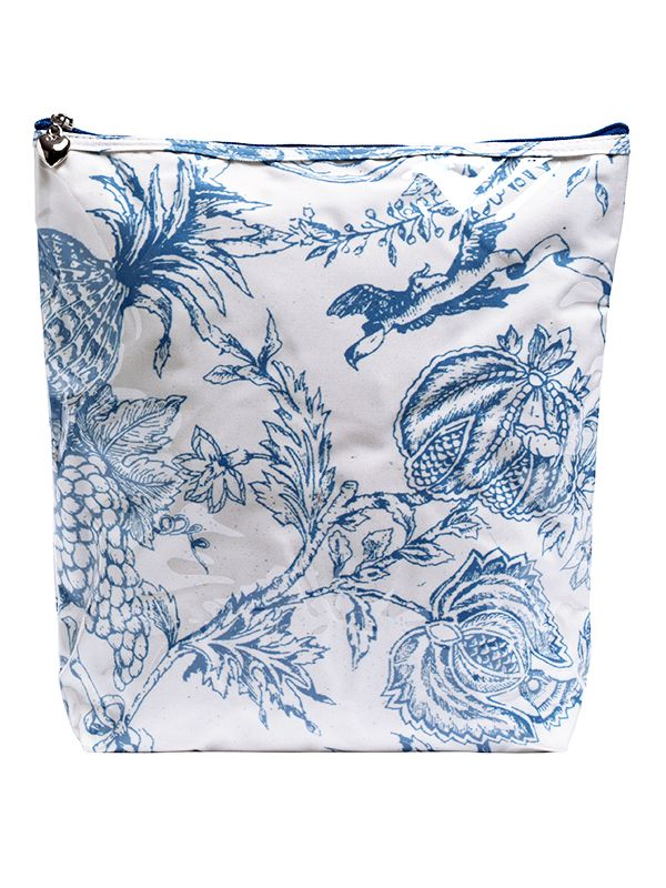 Cosmetic Bag (Large), Pineapple Garden (Blue) - DN302-PGBL